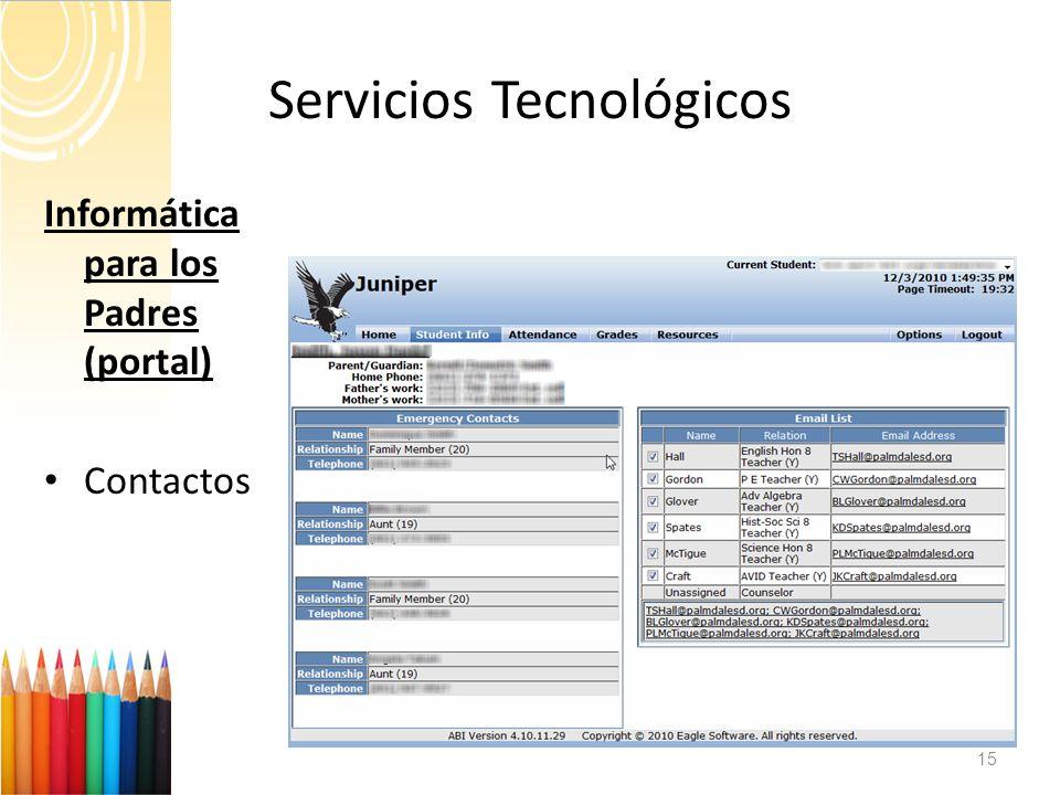 Servicios Tecnológicos 15 Informática para los Padres (portal) Contactos
