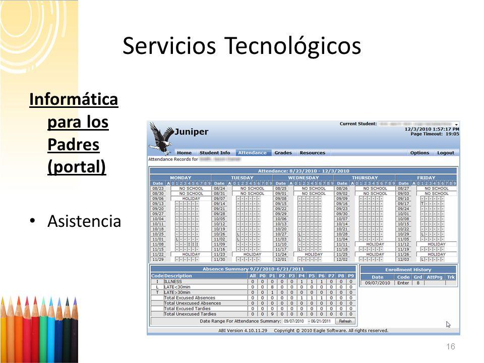 Servicios Tecnológicos 16 Informática para los Padres (portal) Asistencia