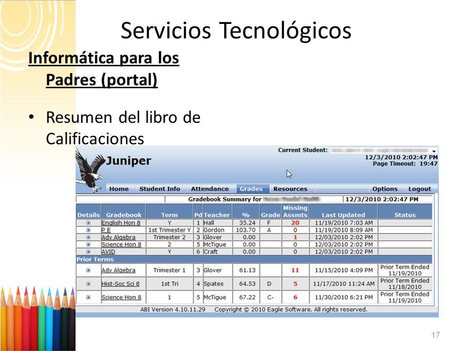 Servicios Tecnológicos 17 Informática para los Padres (portal) Resumen del libro de Calificaciones