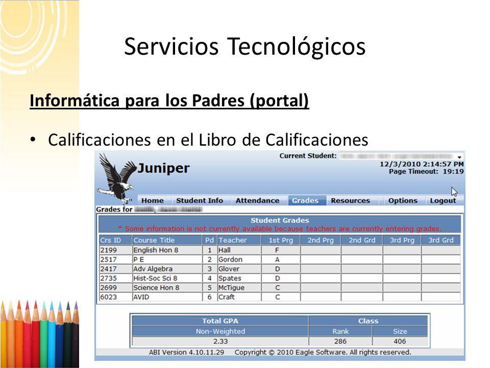 Servicios Tecnológicos 19 Informática para los Padres (portal) Calificaciones en el Libro de Calificaciones