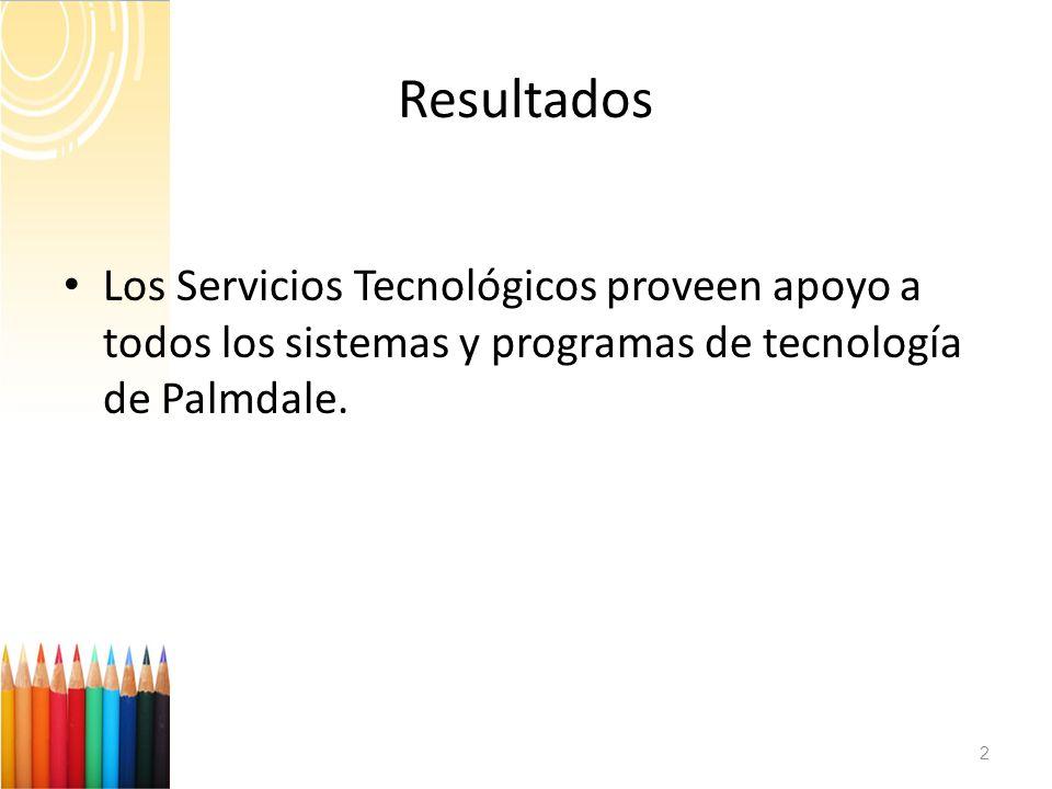 Resultados 2 Los Servicios Tecnológicos proveen apoyo a todos los sistemas y programas de tecnología de Palmdale.