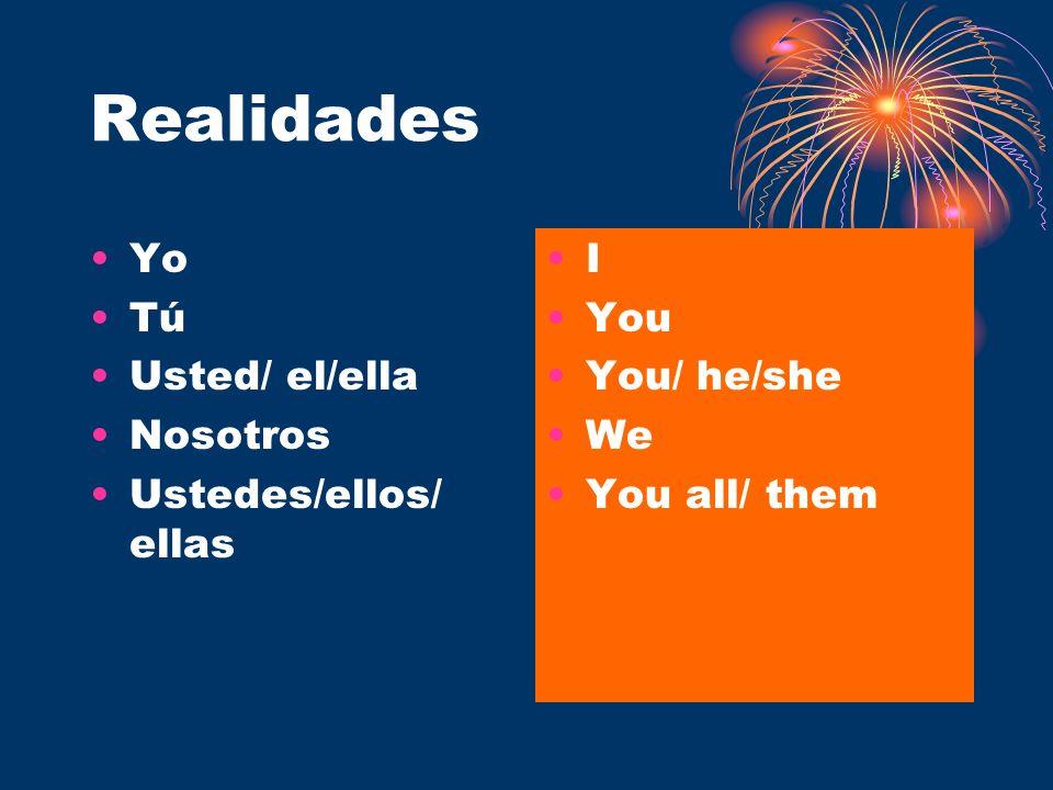 Realidades Yo Tú Usted/ el/ella Nosotros Ustedes/ellos/ ellas I You You/ he/she We You all/ them