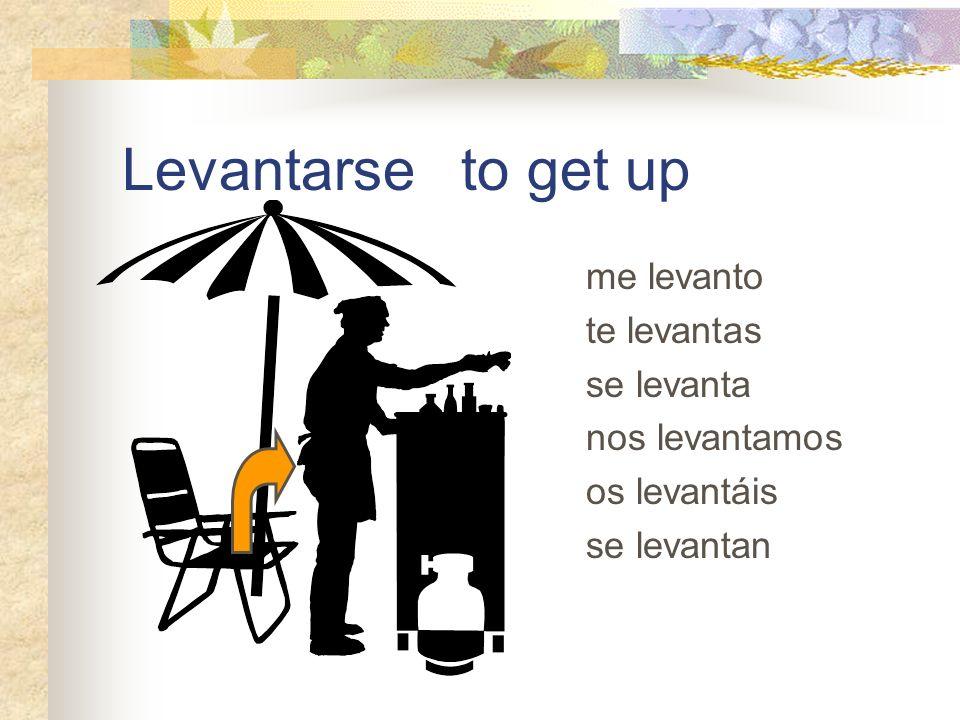 Levantarse to get up me levanto te levantas se levanta nos levantamos os levantáis se levantan