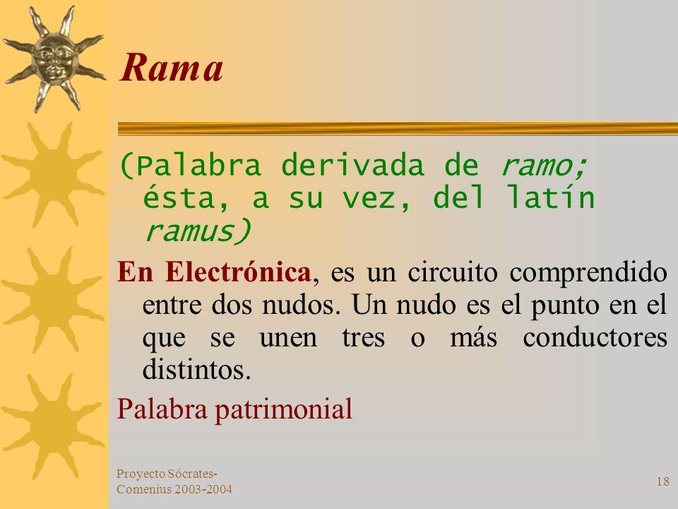 Proyecto Sócrates- Comenius 2003-2004 18 Rama (Palabra derivada de ramo; ésta, a su vez, del latín ramus) En Electrónica, es un circuito comprendido e
