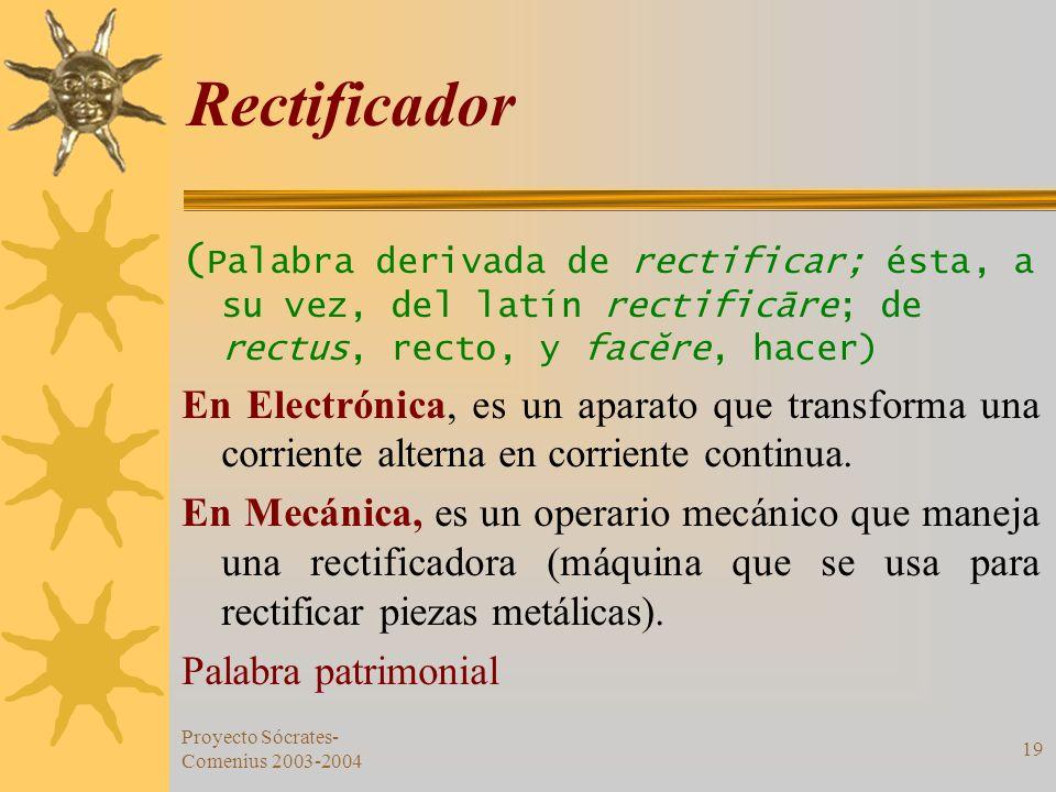 Proyecto Sócrates- Comenius 2003-2004 19 Rectificador ( Palabra derivada de rectificar; ésta, a su vez, del latín rectificāre; de rectus, recto, y fac