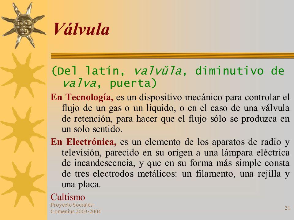 Proyecto Sócrates- Comenius 2003-2004 21 Válvula (Del latín, valvŭla, diminutivo de valva, puerta) En Tecnología, es un dispositivo mecánico para cont