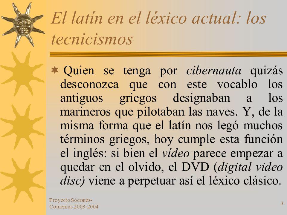 Proyecto Sócrates- Comenius 2003-2004 3 El latín en el léxico actual: los tecnicismos Quien se tenga por cibernauta quizás desconozca que con este voc