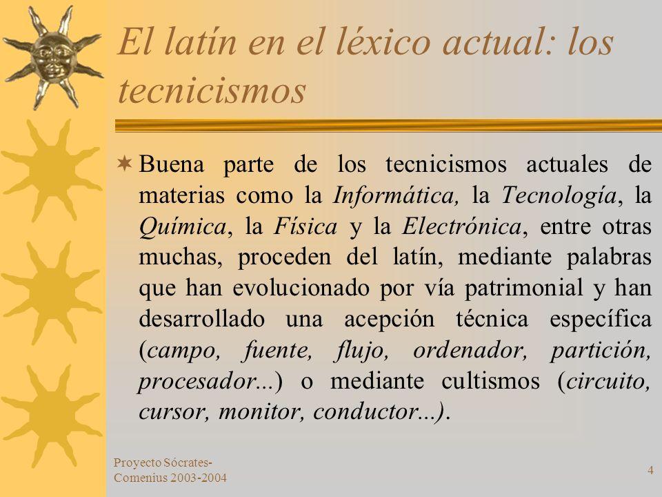 Proyecto Sócrates- Comenius 2003-2004 4 El latín en el léxico actual: los tecnicismos Buena parte de los tecnicismos actuales de materias como la Info