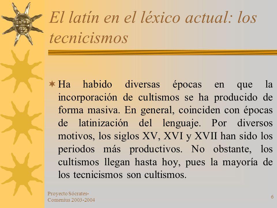 Proyecto Sócrates- Comenius 2003-2004 6 El latín en el léxico actual: los tecnicismos Ha habido diversas épocas en que la incorporación de cultismos s