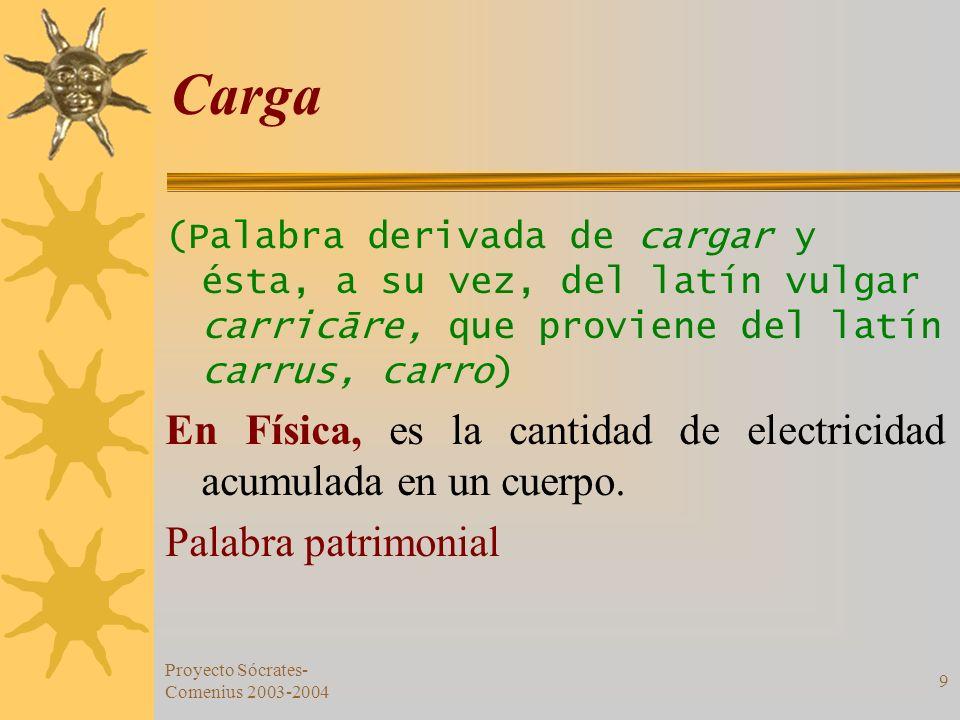 Proyecto Sócrates- Comenius 2003-2004 9 Carga (Palabra derivada de cargar y ésta, a su vez, del latín vulgar carricāre, que proviene del latín carrus,