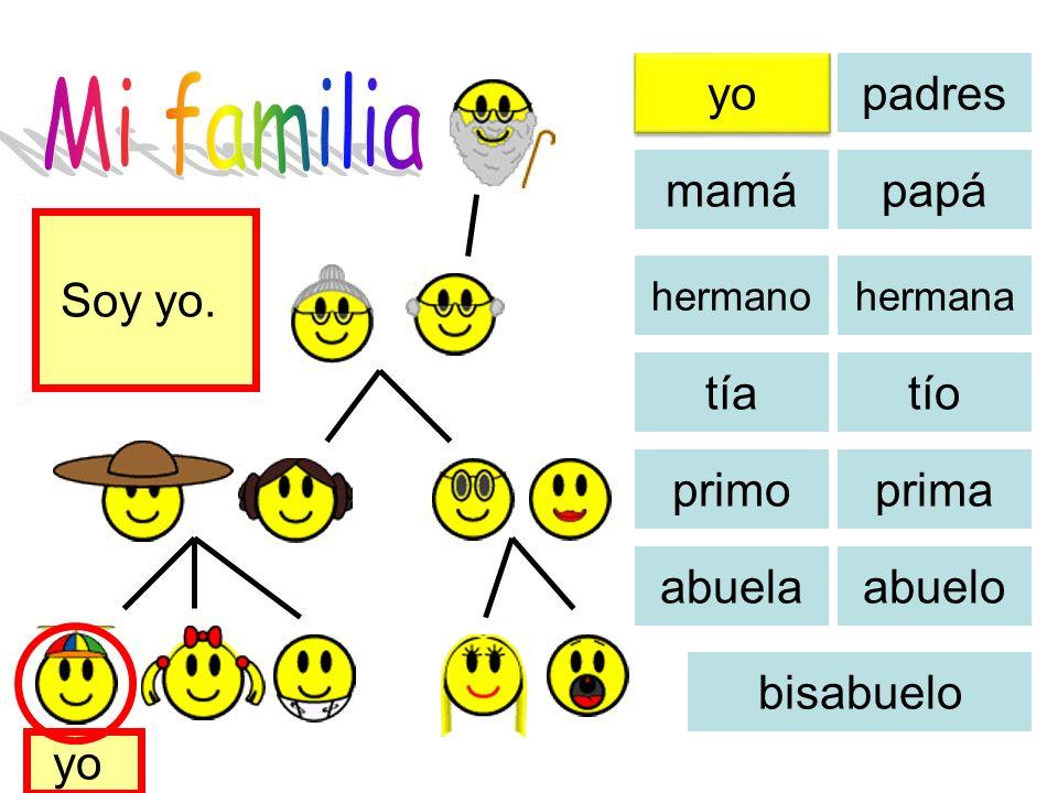 yo padres mamápapá tíatío primoprima abuela abuelo bisabuelo Hier ist meine Familie.