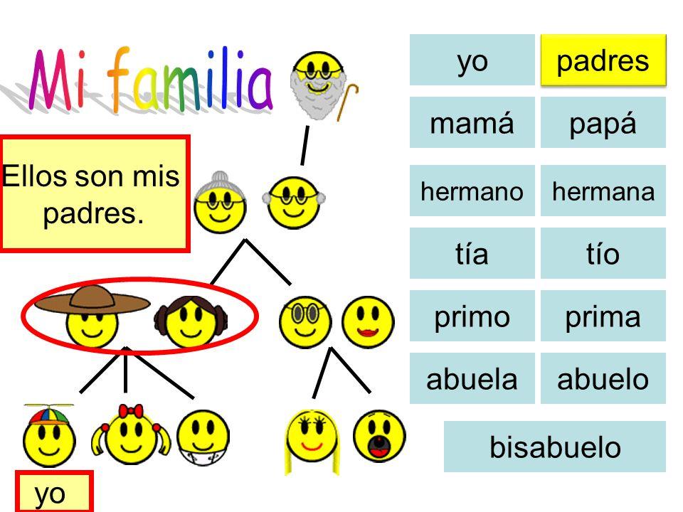 yo padres mamá papá tíatío primoprima abuelaabuelo bisabuelo Ella es mi mamá. yo hermanahermano