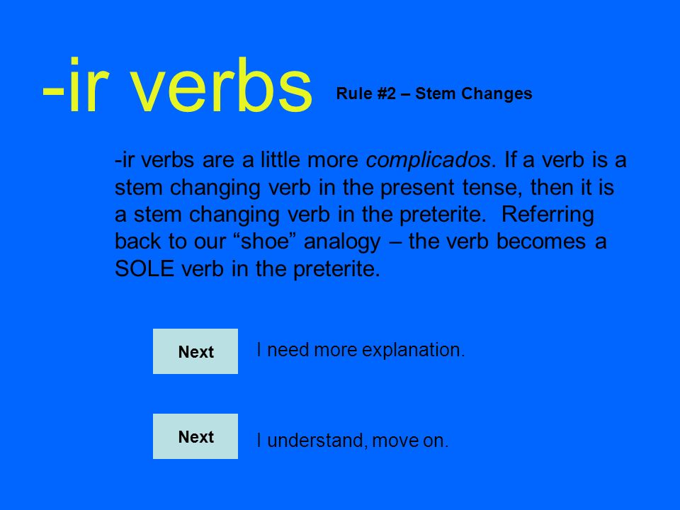 -ir verbs Rule #1 – Las Terminaciones THEY ARE THE SAME AS –ER!! Yo Tú Él Ella Usted Nosotros Vosotros Ellos Ellas Ustedes -í -iste -ió -imos -isteis