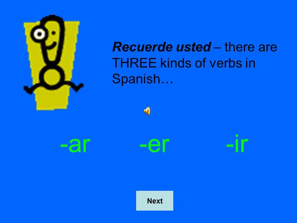 HINT CARD Next Regular –er verbs DO NOT stem change in the preterite tense!!
