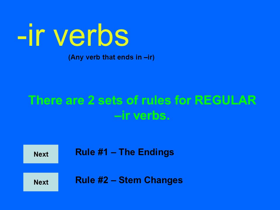 -er verbs (Any verb that ends in –ir) There are 2 sets of rules for REGULAR –er verbs. Next Rule #1 – The Endings Rule #2 – Stem Changes