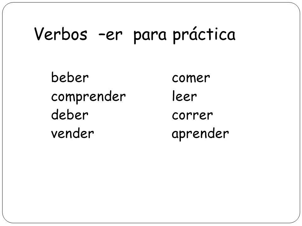 Verbos –er para práctica bebercomer comprenderleer debercorrer venderaprender