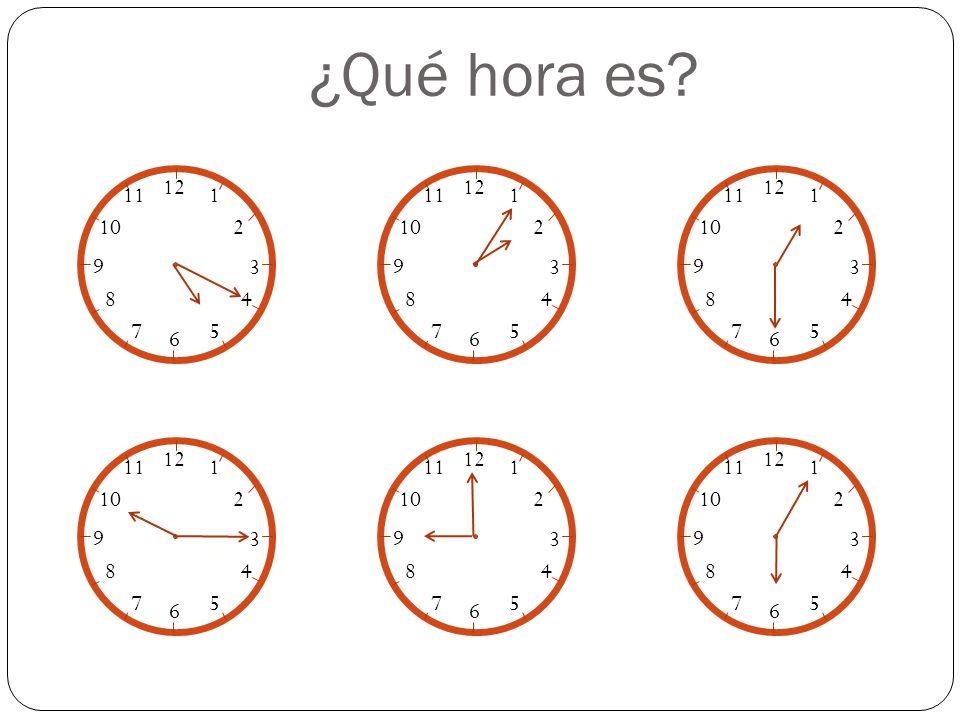 Son las seis y cuarto Son las doce y medias Son las siete menos cuarto Son las diez en punto Practica 12 1 2 3 4 5 6 7 8 9 10 11 12 1 2 3 4 5 6 7 8 9 10 11 12 1 2 3 4 5 6 7 8 9 10 11 12 1 2 3 4 5 6 7 8 9 10 11