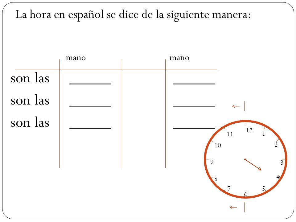 mano mano son las_____ _____ La hora en español se dice de la siguiente manera: 12 1 2 3 4 5 6 7 8 9 10 11