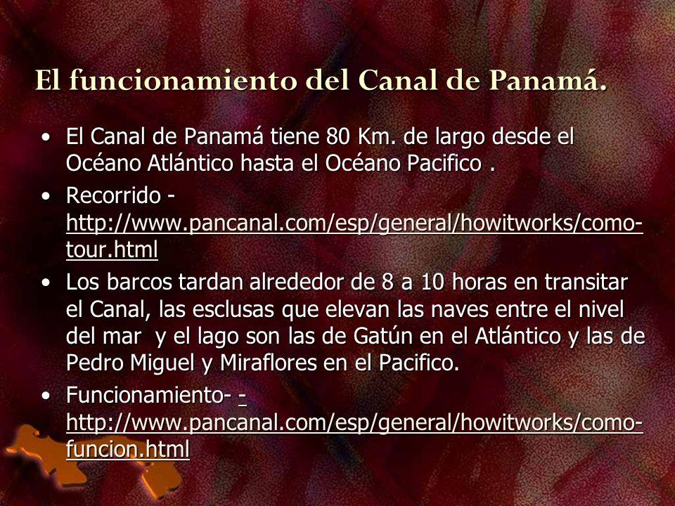 El funcionamiento del Canal de Panamá. El Canal de Panamá tiene 80 Km. de largo desde el Océano Atlántico hasta el Océano Pacifico.El Canal de Panamá