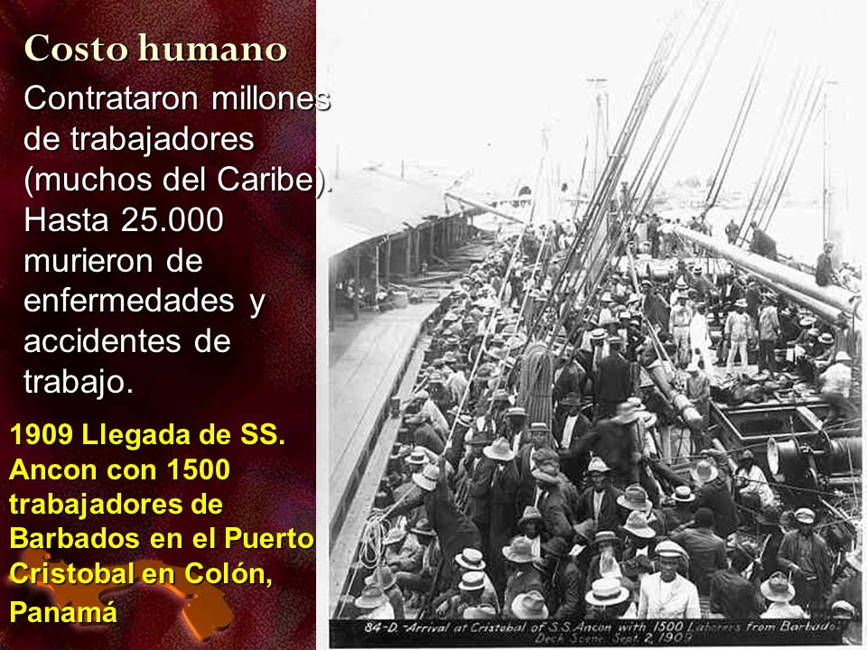 1909 Llegada de SS. Ancon con 1500 trabajadores de Barbados en el Puerto Cristobal en Colón, Panamá 1909 Llegada de SS. Ancon con 1500 trabajadores de