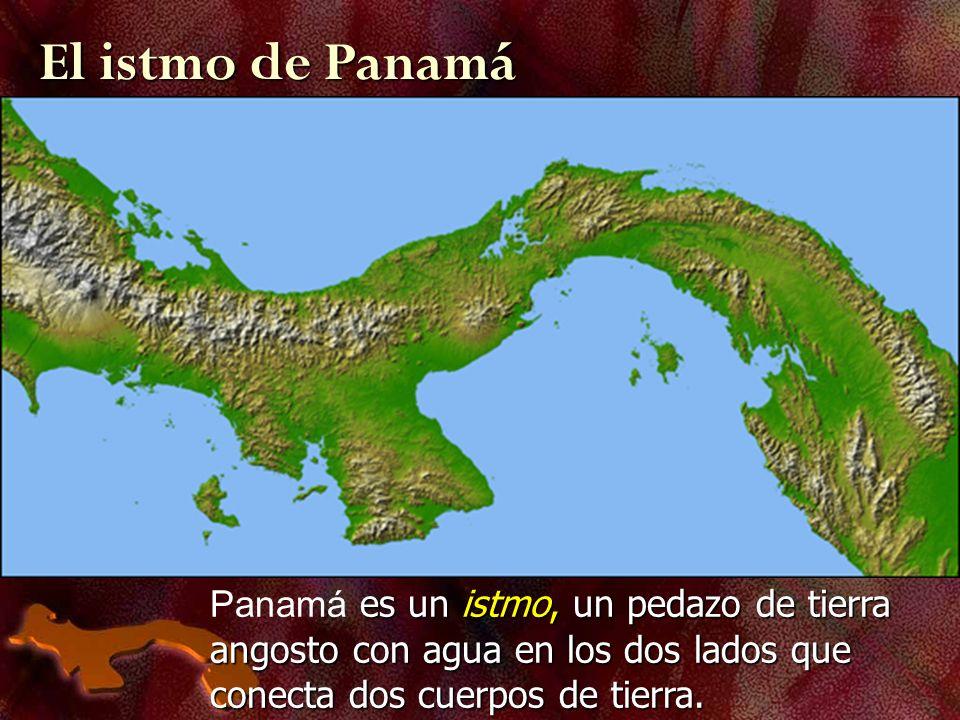 es un istmo, un pedazo de tierra angosto con agua en los dos lados que conecta dos cuerpos de tierra. Panamá es un istmo, un pedazo de tierra angosto