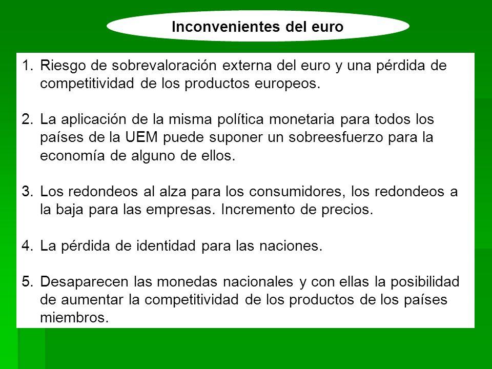 Inconvenientes del euro 1.Riesgo de sobrevaloración externa del euro y una pérdida de competitividad de los productos europeos. 2.La aplicación de la