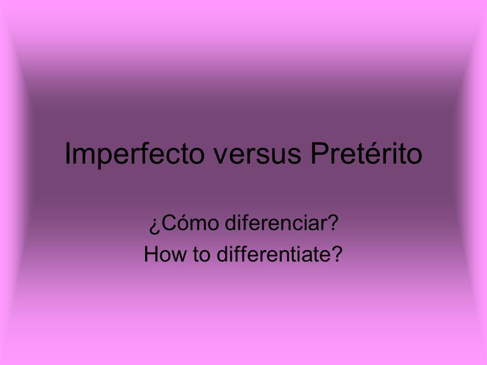 Imperfecto Endings for –ar– verbs: Yo - aba Tu - abas El / Ella / Usted – aba Nosotros – ábamos Vosotros - abais Ellos/Ellas/Ustedes - aban