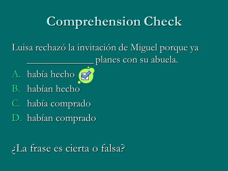 Comprehension Check Luisa rechazó la invitación de Miguel porque ya _____________ planes con su abuela. A.había hecho B.habían hecho C.había comprado