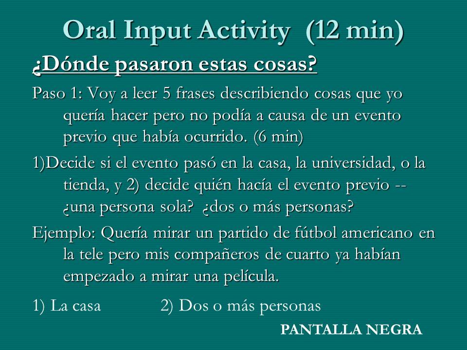 Oral Input Activity (12 min) ¿Dónde pasaron estas cosas? Paso 1: Voy a leer 5 frases describiendo cosas que yo quería hacer pero no podía a causa de u