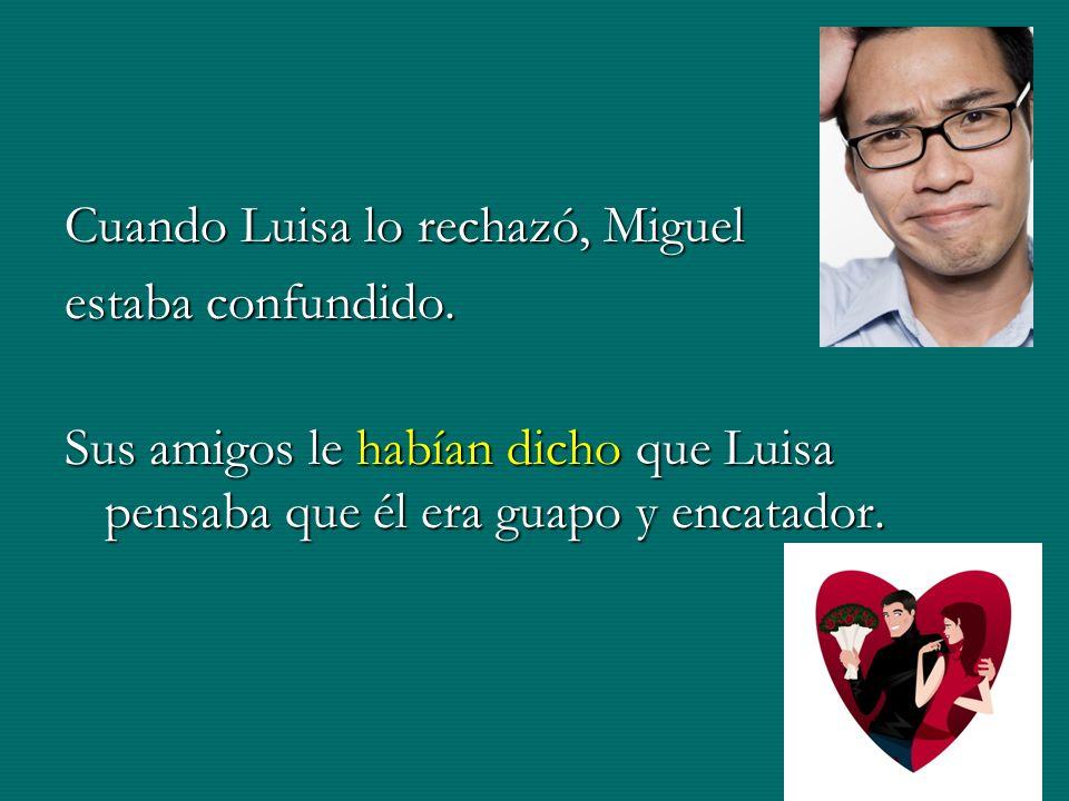 Cuando Luisa lo rechazó, Miguel estaba confundido. Sus amigos le habían dicho que Luisa pensaba que él era guapo y encatador.