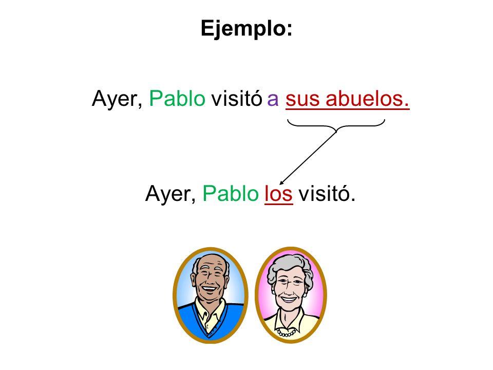 Ejemplo: Ayer, Pablo visitó a sus abuelos. Ayer, Pablo los visitó.