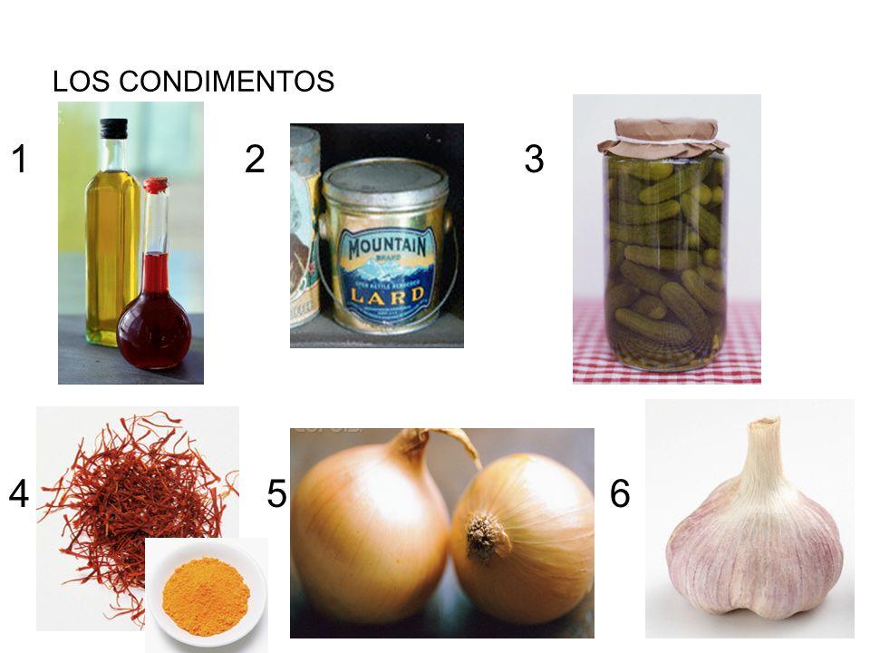 LOS CONDIMENTOS 1 2 3 4 5 6