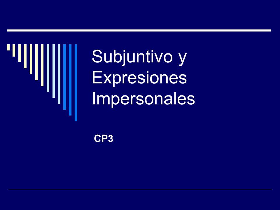 Subjuntivo y Expresiones Impersonales CP3