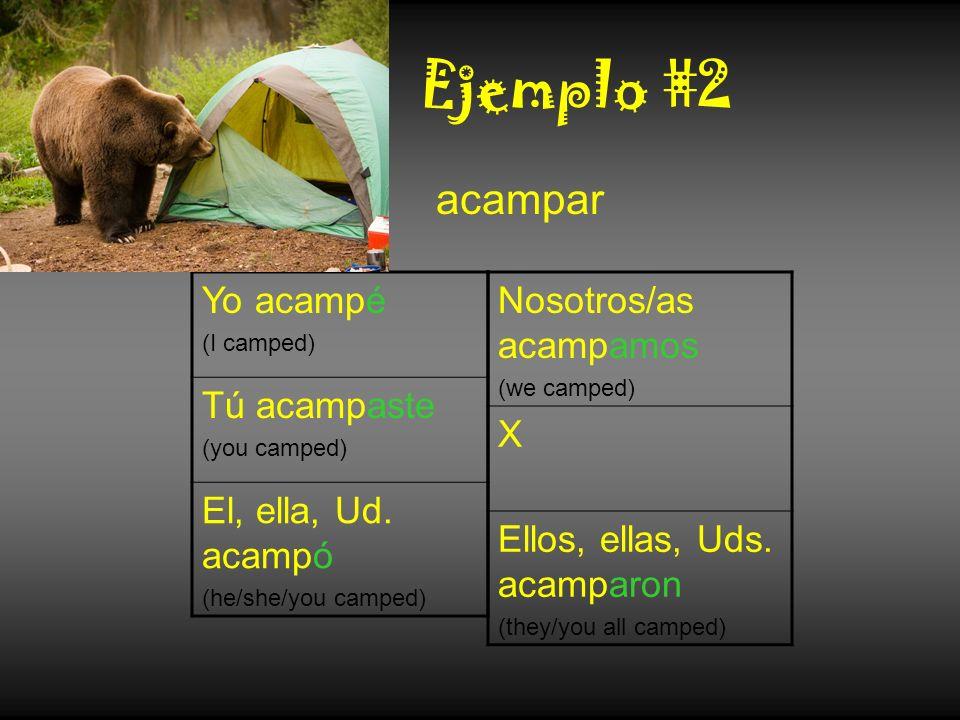 Ejemplo #2 Yo acampé (I camped) Tú acampaste (you camped) El, ella, Ud. acampó (he/she/you camped) acampar Nosotros/as acampamos (we camped) X Ellos,