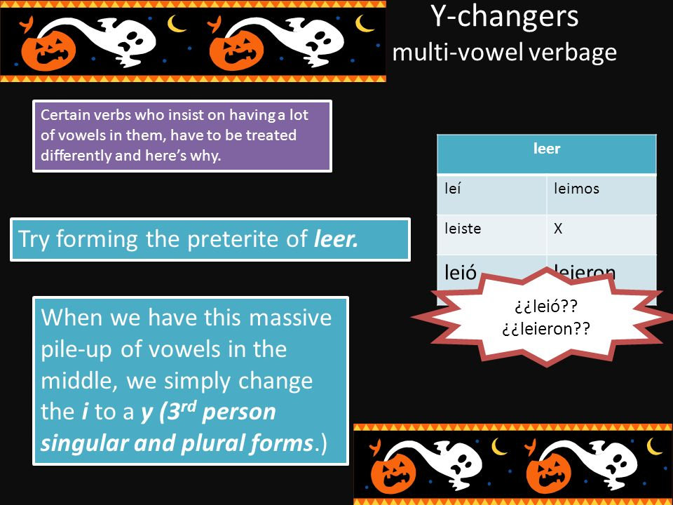 Y-changers multi-vowel verbage Certain verbs who insist on having a lot of vowels in them, have to be treated differently and heres why.