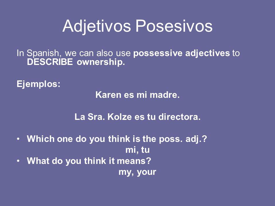 Adjetivos Posesivos In Spanish, we can also use possessive adjectives to DESCRIBE ownership. Ejemplos: Karen es mi madre. La Sra. Kolze es tu director