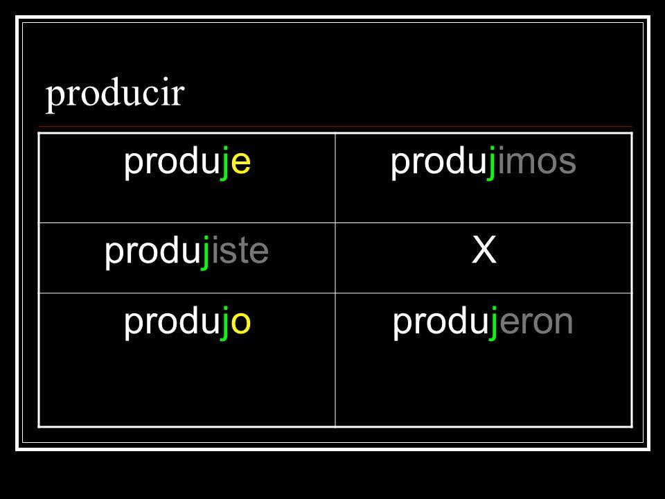 producir produjeprodujimos produjisteX produjoprodujeron