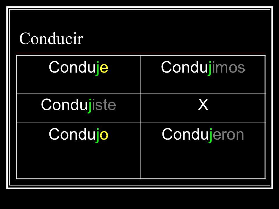 Conducir CondujeCondujimos CondujisteX CondujoCondujeron