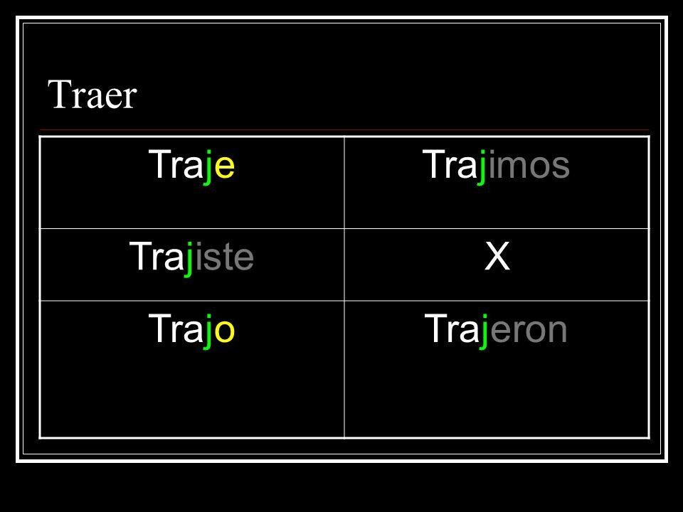 Traer TrajeTrajimos TrajisteX TrajoTrajeron