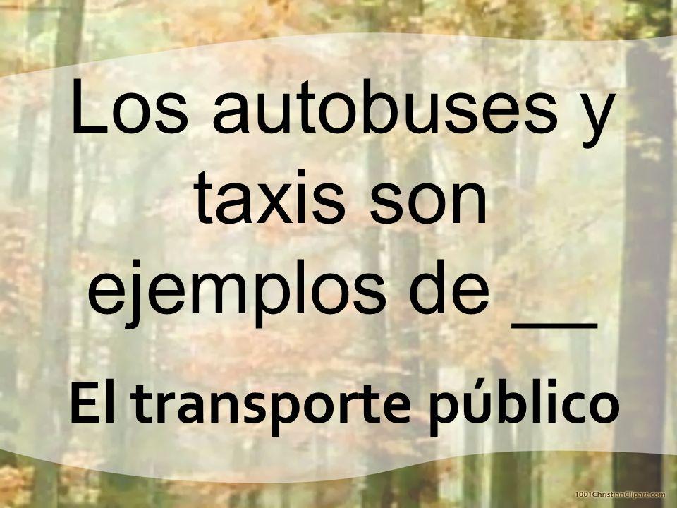 Los autobuses y taxis son ejemplos de __ El transporte público