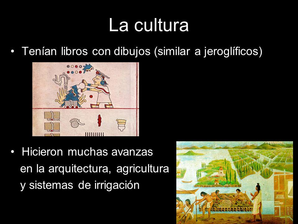 La cultura Tenían libros con dibujos (similar a jeroglíficos) Hicieron muchas avanzas en la arquitectura, agricultura y sistemas de irrigación