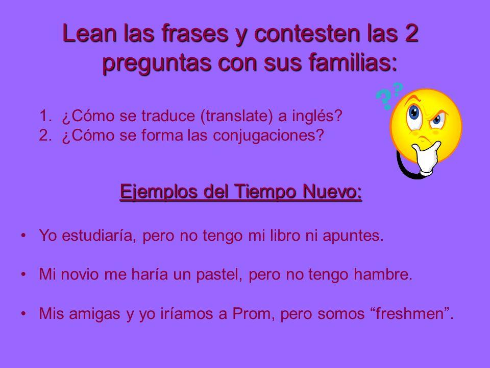 Lean las frases y contesten las 2 preguntas con sus familias: 1. ¿Cómo se traduce (translate) a inglés? 2. ¿Cómo se forma las conjugaciones? Ejemplos