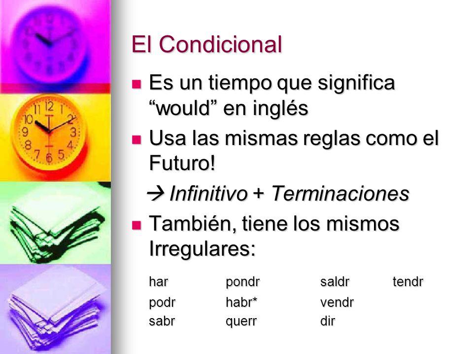 Es un tiempo que significa would en inglés Es un tiempo que significa would en inglés Usa las mismas reglas como el Futuro! Usa las mismas reglas como