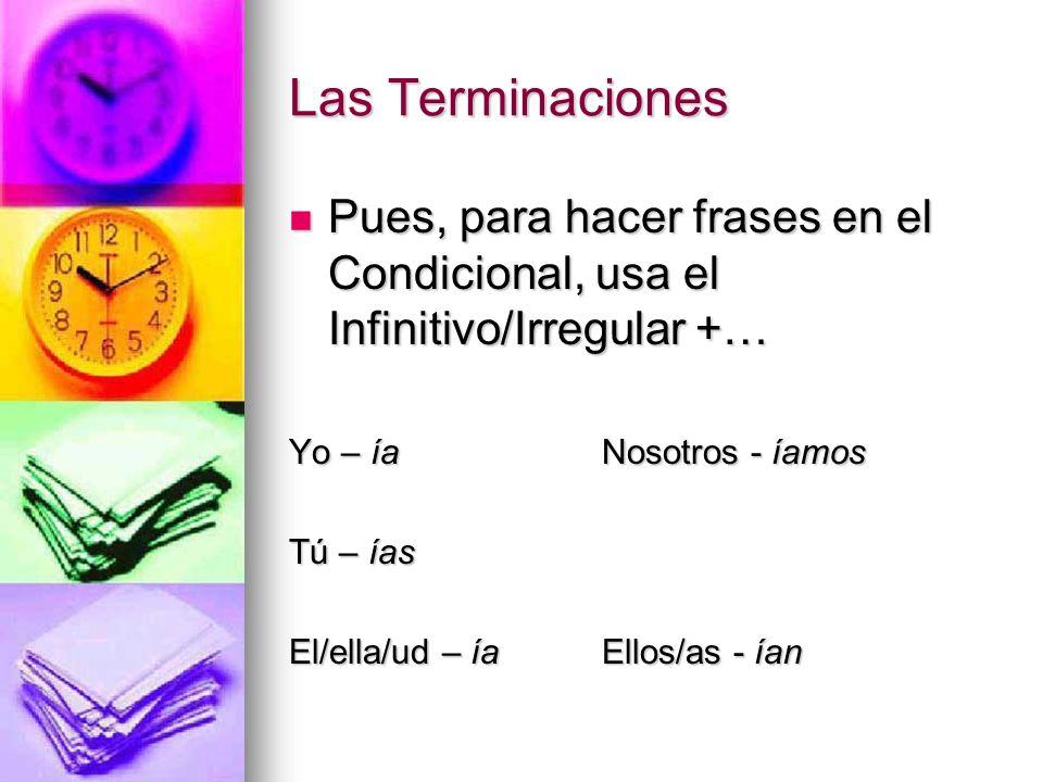 Las Terminaciones Pues, para hacer frases en el Condicional, usa el Infinitivo/Irregular +… Pues, para hacer frases en el Condicional, usa el Infiniti