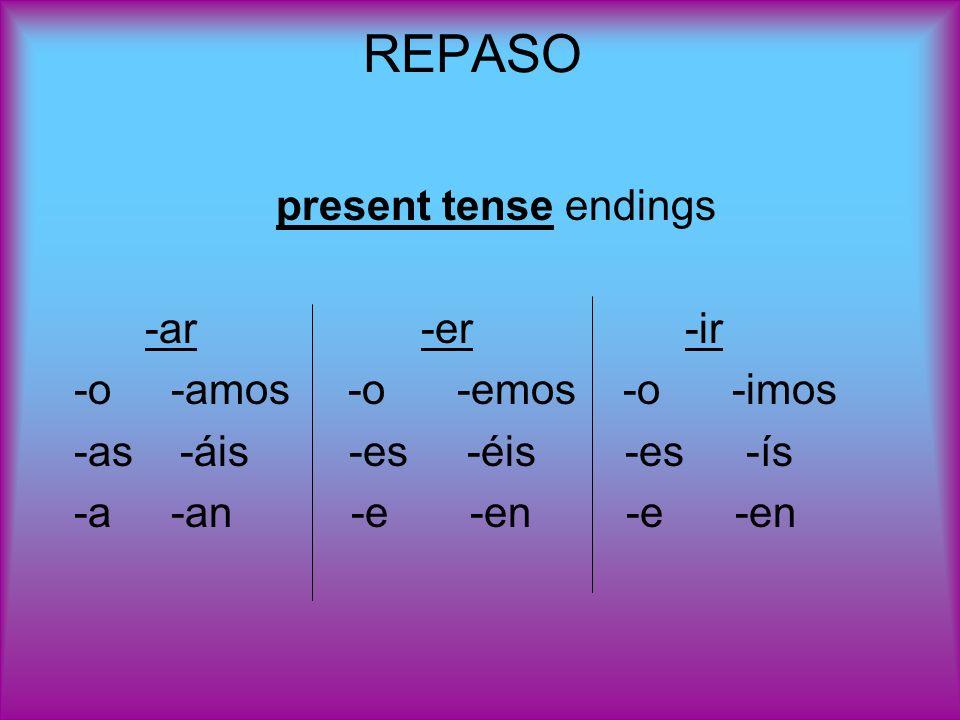 REPASO present tense endings -ar -er -ir -o -amos -o -emos -o -imos -as -áis -es -éis -es-ís -a -an -e -en -e -en