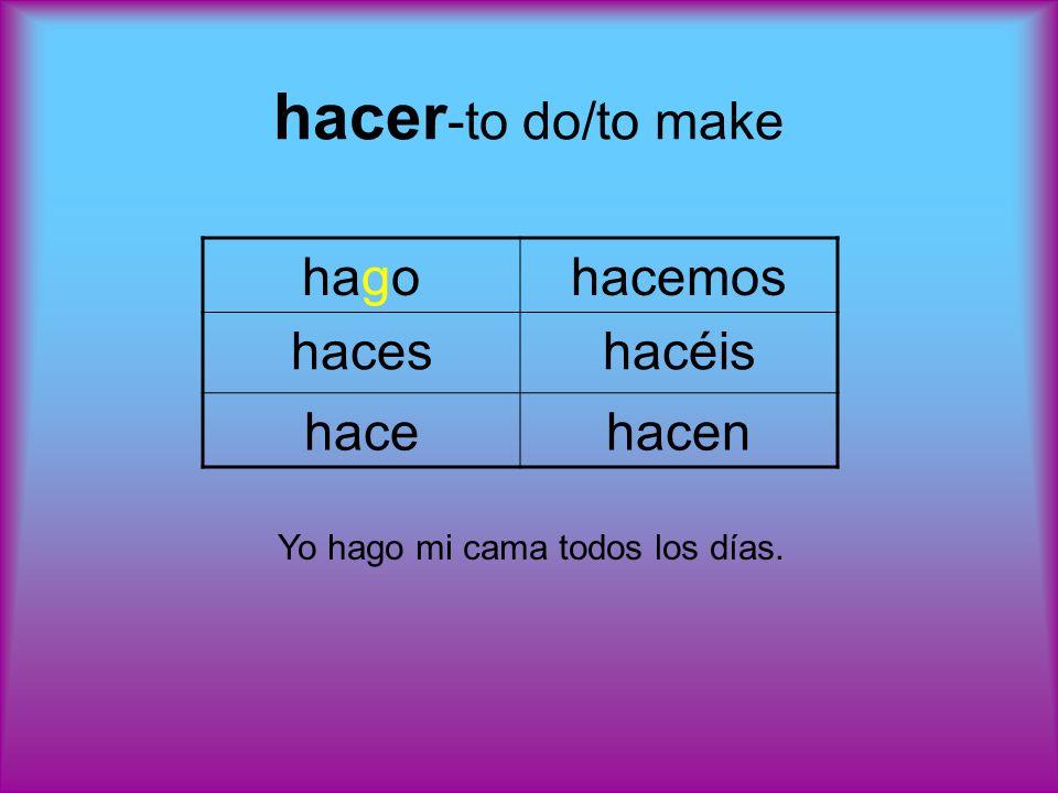 poner -to put/to place (also used in the fixed expression: poner la mesato set the table) pongoponemos ponesponéis poneponen Ella pone la ropa en el armario.