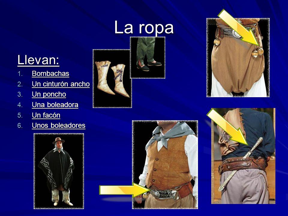 La ropa Llevan: 1. Bombachas 2. Un cinturón ancho 3. Un poncho 4. Una boleadora 5. Un facón 6. Unos boleadores