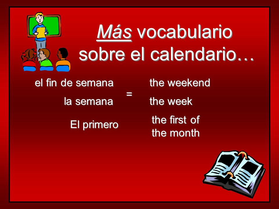 Vocabulario sobre el calendario… Vocabulario sobre el calendario… hoy mañana today tomorrow = =