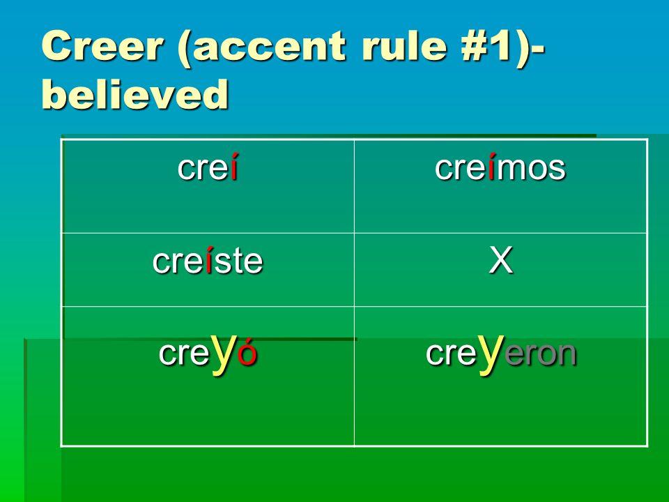 Creer (accent rule #1)- believed creí creímos creíste X cre y ó cre y eron