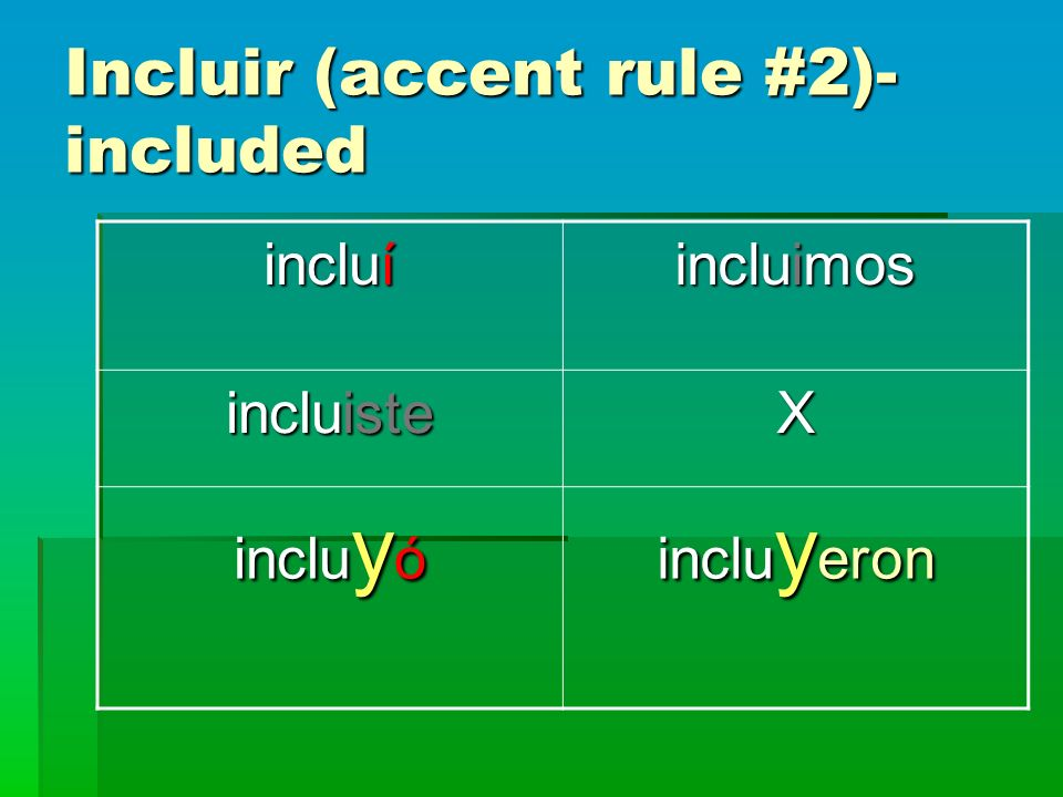 Incluir (accent rule #2)- included incluí incluimos incluiste X inclu y ó inclu y eron